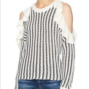 Moon River Women's Cold Shoulder Ruffle Sweater